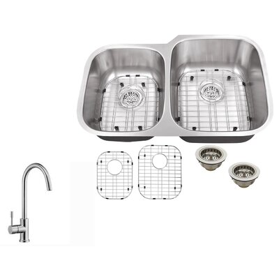 16 Gauge Stainless Steel 32 x 20.75 Double Basin Undermount Kitchen Sink with Gooseneck Faucet