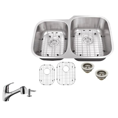 16 Gauge Stainless Steel 32 x 20.75 Double Basin Undermount Kitchen Sink with Low Profile Pull Out Faucet