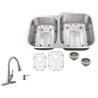 16 Gauge Stainless Steel 32 x 20.75 Double Basin Undermount Kitchen Sink with Gooseneck Faucet