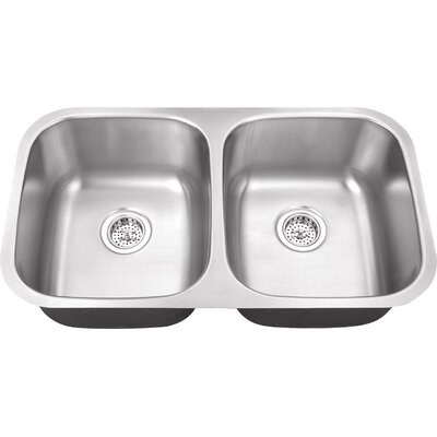 18 Gauge Stainless Steel 32.25 x 18.5 Double Basin Undermount Kitchen Sink