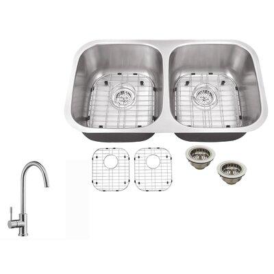 16 Gauge Stainless Steel 32.25 x 18.5 Double Basin Undermount Kitchen Sink with Gooseneck Faucet