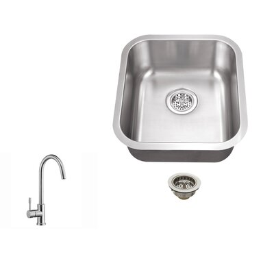 18 Gauge Stainless Steel 18 x 16.13 Undermount Bar Sink with Gooseneck Faucet