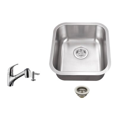 18 Gauge Stainless Steel 18 x 16.13 Undermount Bar Sink with Low Profile Pull Out Faucet