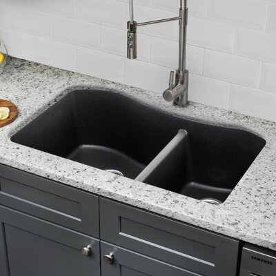 Quartz 32.5 x 20 Undermount Kitchen Sink with Twist and Lock Strainer Finish: Onyx Black
