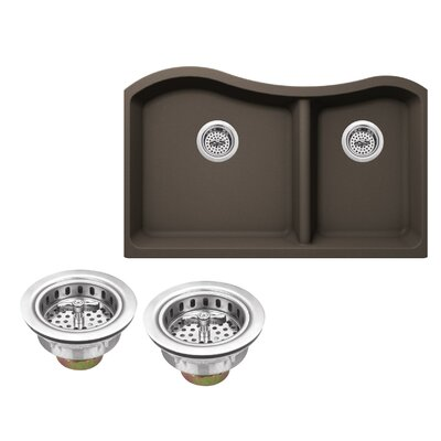 Quartz 32.5 x 20 Undermount Kitchen Sink with Twist and Lock Strainer Finish: Mocha Brown