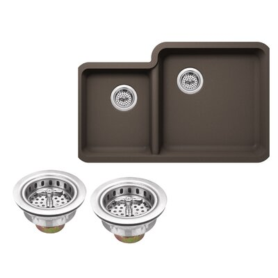 Quartz 33 x 20.75 Double Basin Undermount Kitchen Sink with Twist and Lock Strainer Finish: Mocha Brown