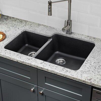 Quartz 33 x 20.75 Double Basin Undermount Kitchen Sink with Twist and Lock Strainer Finish: Onyx Black
