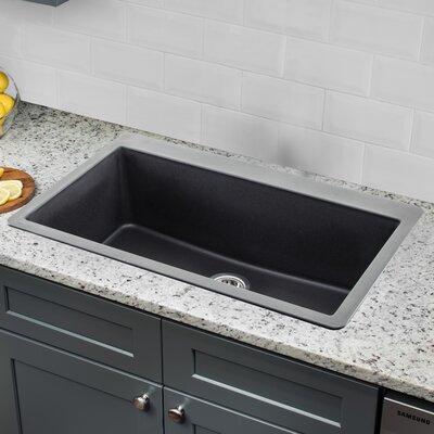 Quartz 33 x 20.88 Drop-In Kitchen Sink with Twist and Lock Strainer Finish: Onyx Black