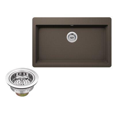 Quartz 33 x 20.88 Drop-In Kitchen Sink with Twist and Lock Strainer Finish: Mocha Brown