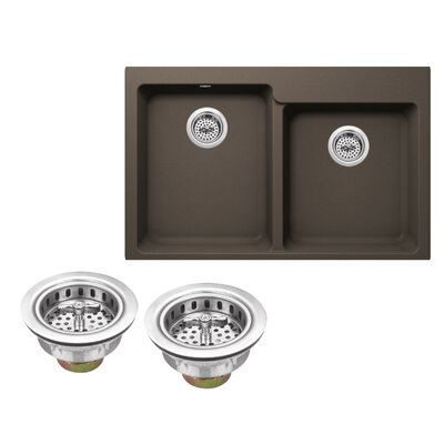 Quartz 33 x 22 Double Basin Drop-In Kitchen Sink with Twist and Lock Strainer Finish: Mocha Brown