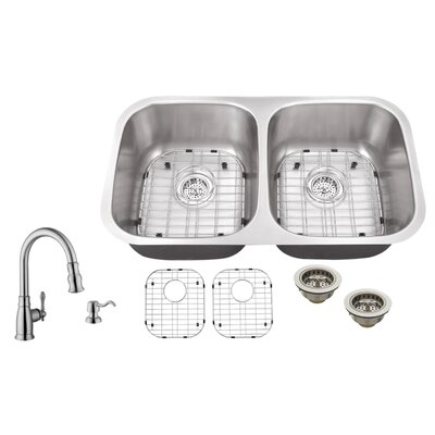 16 Gauge Stainless Steel 32.25 x 18.5 Double Basin Undermount Kitchen Sink with Arc Faucet