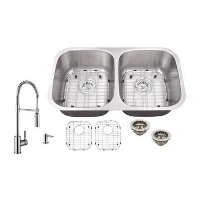 16 Gauge Stainless Steel 32.25 x 18.5 Double Basin Undermount Kitchen Sink with Pull Out Faucet and Soap Dispenser