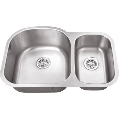18 Gauge Stainless Steel 31.5 x 20.5 Double Basin Undermount Kitchen Sink