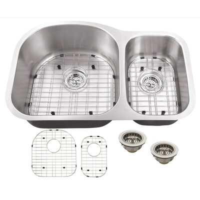 16 Gauge Stainless Steel 31.5 x 20.5 Double Basin Undermount Kitchen Sink with Grid Set and Drain Assembly