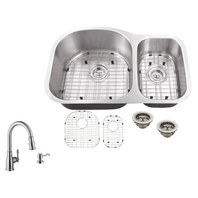 16 Gauge Stainless Steel 31.5 x 20.5 Double Basin Undermount Kitchen Sink with Arc Faucet