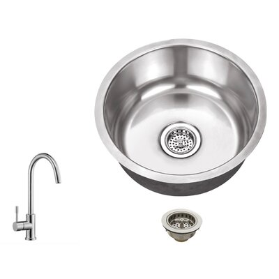 18 Gauge Stainless Steel 17.13 x 17.13 Undermount Bar Sink with Gooseneck Faucet