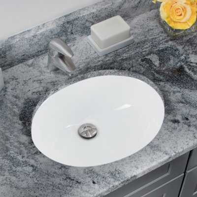 Glazed Porcelain Oval Undermount Bathroom Sink with Overflow Sink Finish: White