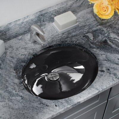 Glazed Porcelain Oval Undermount Bathroom Sink with Overflow Sink Finish: Black