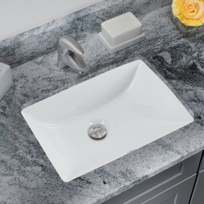 Glazed Porcelain Rectangular Undermount Bathroom Sink with Overflow Sink Finish: White