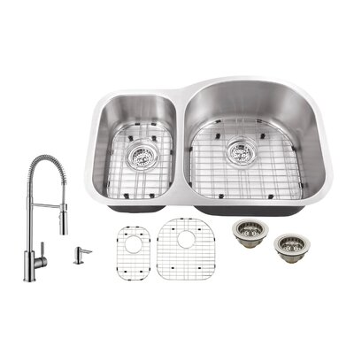 16 Gauge Stainless Steel 31.5 x 20.5 Double Basin Undermount Kitchen Sink with Pull Out Faucet and Soap Dispenser