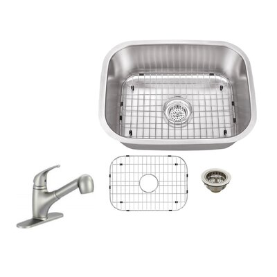 18 Gauge Stainless Steel 23.44 x 17.75 Undermount Bar Sink with Low Profile Pull Out Faucet