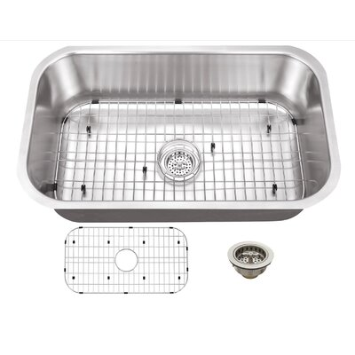 18 Gauge Stainless Steel 30 x 18 Undermount Kitchen Sink with Grid Set and Drain Assembly