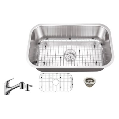 16 Gauge Stainless Steel 30 x 18 Undermount Kitchen Sink with Low Profile Pull Out Faucet