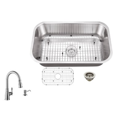 16 Gauge Stainless Steel 30 x 18 Undermount Kitchen Sink with Arc Faucet