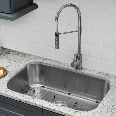 16 Gauge Stainless Steel 30 x 18 Undermount Kitchen Sink with Pull Out Faucet and Soap Dispenser