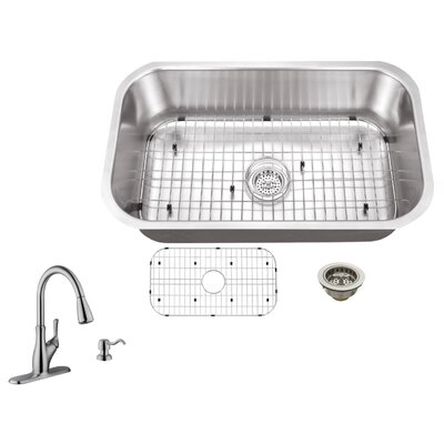 16 Gauge Stainless Steel 30 x 18 Undermount Kitchen Sink with Gooseneck Faucet