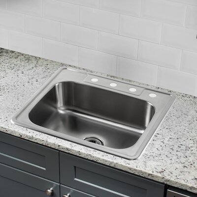 20 Gauge Stainless Steel 25 x 22 Drop-In Kitchen Sink with Drain Assembly