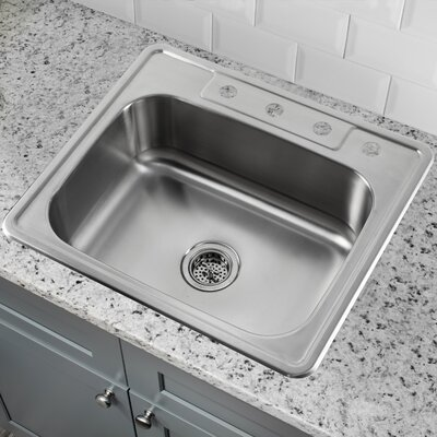20 Gauge Stainless Steel 25 x 22 Drop-In Kitchen Sink with Gooseneck Faucet