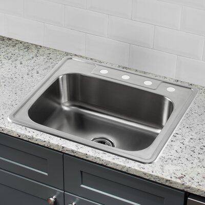 20 Gauge Stainless Steel 25 x 22 Drop-In Kitchen Sink with Low Profile Pull Out Faucet