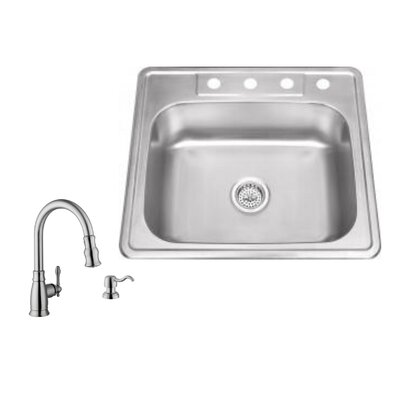 20 Gauge Stainless Steel 25 x 22 Undermount Kitchen Sink with Arc Faucet