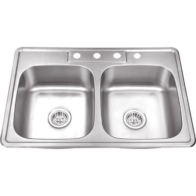 20 Gauge Stainless Steel 33 x 22 Double Basin Drop-In Kitchen Sink