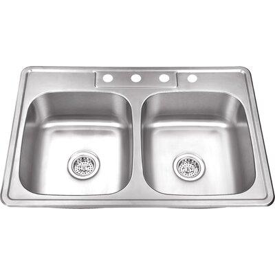 20 Gauge Stainless Steel 33 x 22 Double Basin Drop-In Kitchen Sink