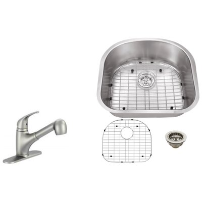 16 Gauge Stainless Steel 23.25 x 20.88 Undermount Kitchen Sink with Low Profile Pull Out Faucet