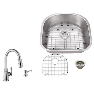 16 Gauge Stainless Steel 23.25 x 20.88 Undermount Kitchen Sink with Arc Faucet