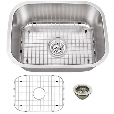 16 Gauge Stainless Steel 23.44 x 17.75 Undermount Bar Sink with Grid Set and Drain Assembly