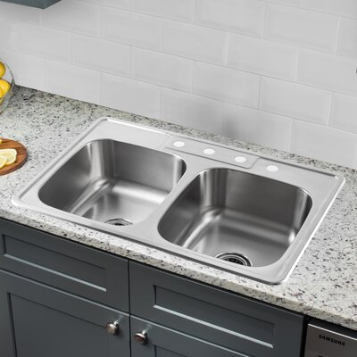 20 Gauge Stainless Steel 33 x 22 Double Basin Undermount Kitchen Sink with Low Profile Pull Out Faucet