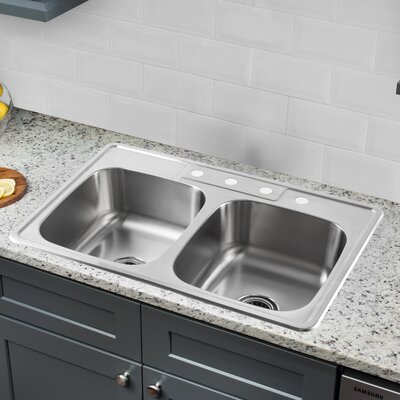 20 Gauge Stainless Steel 33 x 22 Double Basin Drop-In Kitchen Sink with Arc Faucet