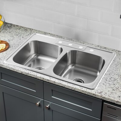 20 Gauge Stainless Steel 33 x 22 Double Basin Undermount Kitchen Sink with Pull Out Faucet and Soap Dispenser