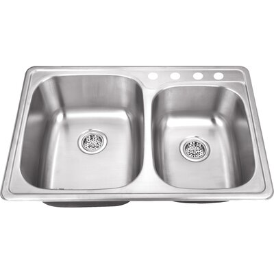 20 Gauge Stainless Steel 33.13 x 22 Double Basin Drop-In Kitchen Sink