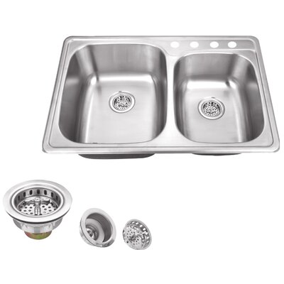 20 Gauge Stainless Steel 33.13 x 22 Double Basin Drop-In Kitchen Sink with Drain Assembly