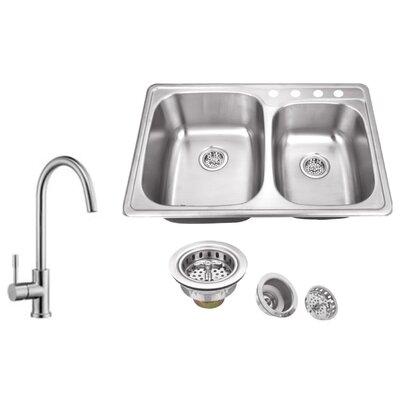 20 Gauge Stainless Steel 33.13 x 22 Double Basin Undermount Kitchen Sink with Gooseneck Faucet
