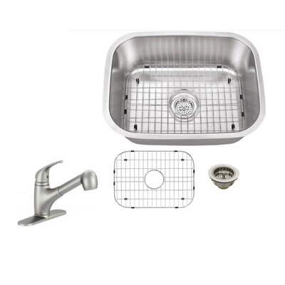 16 Gauge Stainless Steel 23.44 x 17.75 Undermount Bar Sink with Low Profile Pull Out Faucet