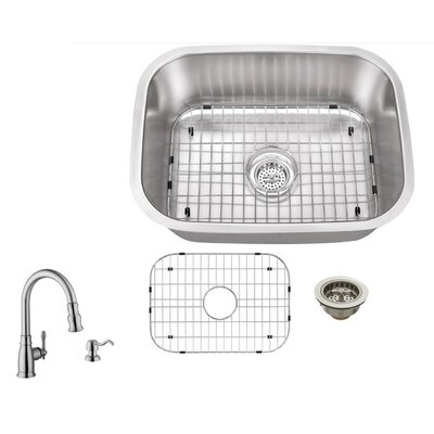 16 Gauge Stainless Steel 23.44 x 17.75 Undermount Bar Sink with Arc Faucet
