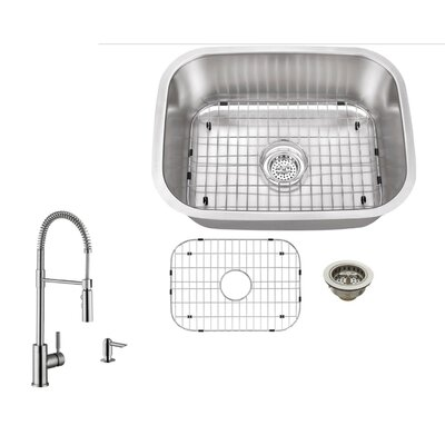 16 Gauge Stainless Steel 23.44 x 17.75 Undermount Bar Sink with Pull Out Faucet and Soap Dispenser