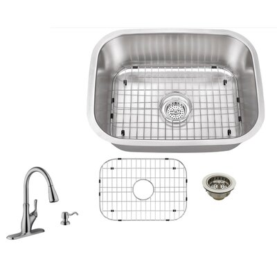 16 Gauge Stainless Steel 23.44 x 17.75 Undermount Bar Sink with Gooseneck Faucet
