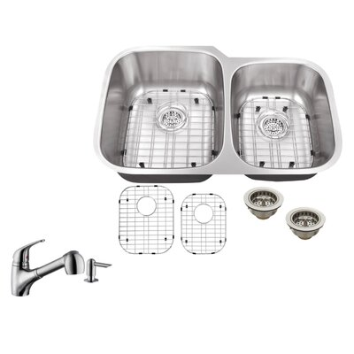 18 Gauge Stainless Steel 32 x 20.75 Double Basin Undermount Kitchen Sink with Low Profile Pull Out Faucet